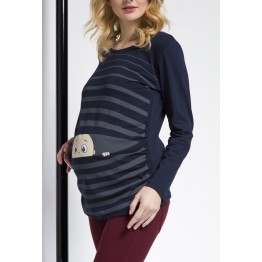 Maternity Dark Blue and Grey Peep Baby Stamp Shirt