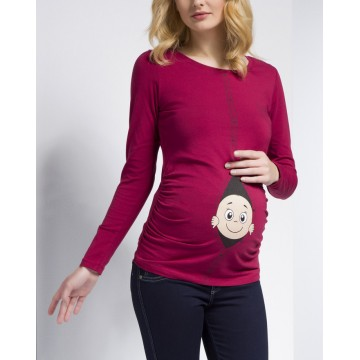 Maternity Dark Red Zipped Baby Stamp Shirt