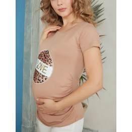 Maternity Beige Two Pocket Knitted Tunic Top