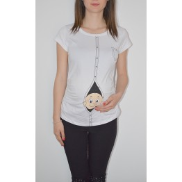 Maternity White Short Sleeve Zipped Baby Stamp Shirt