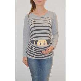 Maternity Grey Long Sleeve Peep baby Stamp Shirt