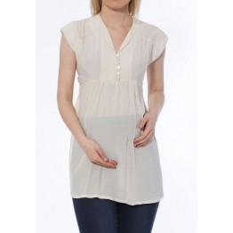 Maternity Ecru Sleeveless Soft Tunic Top