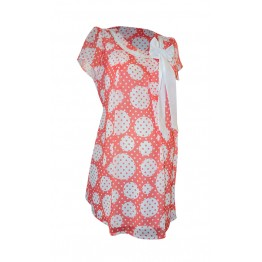 Maternity Watermelon White Circles Print Tunic Top