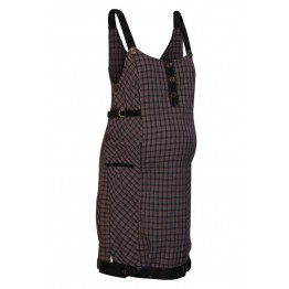 Maternity Dark Violet Squares Pinafore Dress