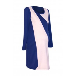 Maternity White Blue Shapes Long Sleeve Dress
