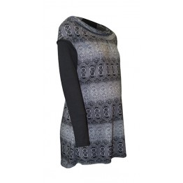 Maternity Black and White Gamma Print Tunic Top With Hood