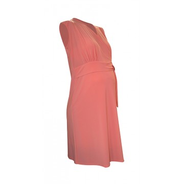 Maternity Overbump Belt Coral Dress