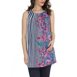 Maternity Striped Floral Print Sleeveless Tunic Top