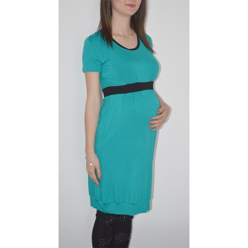 Maternity Light Petrol and Black Dress of Soft Fabric