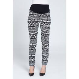 Maternity Soft Fabric Black and White Print Pants
