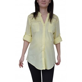 Maternity Yellow 3/4 Sleeve Shirt with Lace