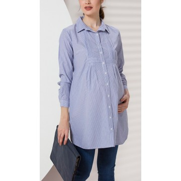 Maternity White Tunic Top with Dark Blue Stripes