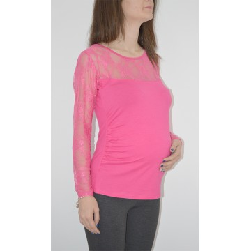 Maternity Pink Lace Neckline Long Sleeve Shirt