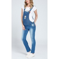 Maternity Light Soft Denim Jumpsuit with a Baby