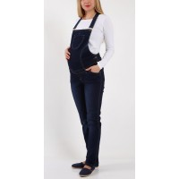 Maternity Blue Denim Front Small Pocket Jumpsuit