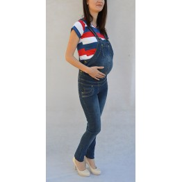 Maternity Blue Denim Full Length Regular Jumpsuit with Pockets