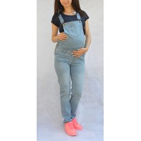 Maternity Light Blue Jumpsuit with Front Pockets