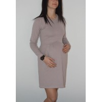 Maternity Purple Beige Elegant Neckline Dress