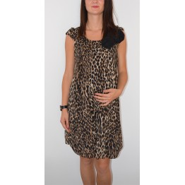 Maternity Tiger Print Balloon Tunic Dress with Flower Decoration