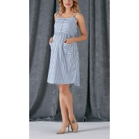 Maternity Blue and White Striped Dress