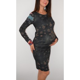 Maternity Dark Gamma Cyclamen Flower Print Dress