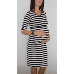 Maternity Black and White Striped Dress
