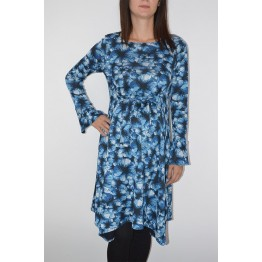 Maternity Blue Floral Print Long Sleeve Dress