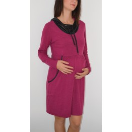 Maternity Pink Sport Knitted Hoody Dress