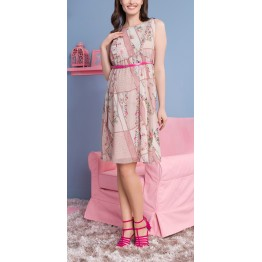 Maternity Pastel Pink Short Sleeve Floral Print Dress