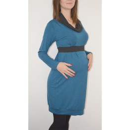 Maternity Petrol Dress with Black Cowl Neck