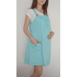 Maternity Light Blue Pinafore Dress