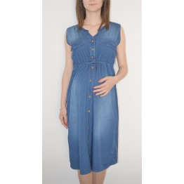 Maternity Light Denim Fabric Sleeveless Dress