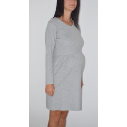 Maternity Grey Long Sleeve Round Neckline Dress