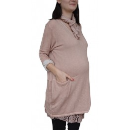 Maternity Light Rose Dress Decorated with a Scarf