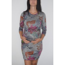 Maternity Dark Grey Flower Print Dress