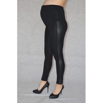 Maternity Black Glossy Stripes Leggings