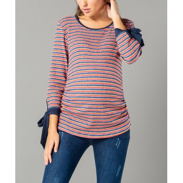 Maternity Dark Grey Top with Colourful Stripes