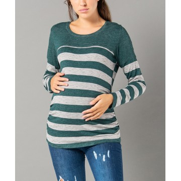 Maternity Dark Green and Grey Stylish Top