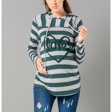 Maternity Grey Front Heart Stamp Long Sleeve Hoody