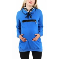Maternity Blue Top with a Hoody