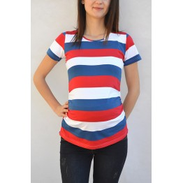 Maternity Stripe Print Short Sleeve Soft Shirt
