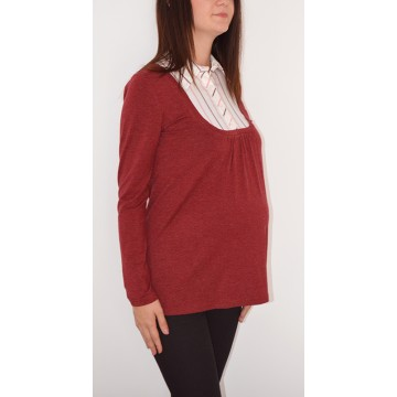 Maternity Dark Red Top with Built in Striped Shirt