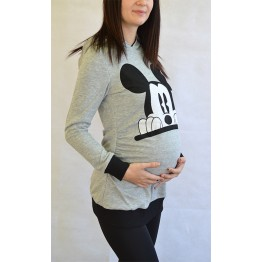 Maternity Grey Front Mickey Mouse Stamp Long Sleeve Hoody