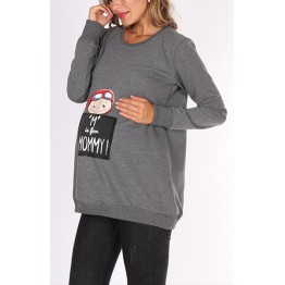 Maternity Dark Grey Top with Colourful Stamp