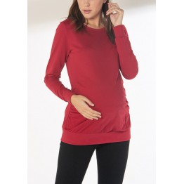Maternity Raspberry Red Long Sleeve Hoody