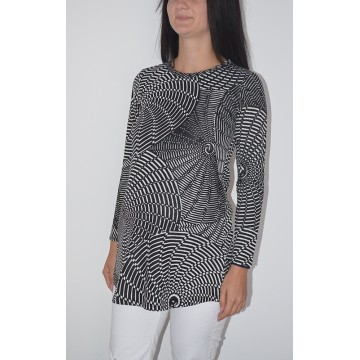 Maternity Black Tunic Top with White Uneven Stripes