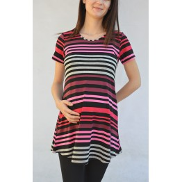 Maternity Purple Stripes and Grey Short Sleeve Tunic Top