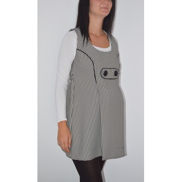 Maternity White and Black Small Squares Tunic Top