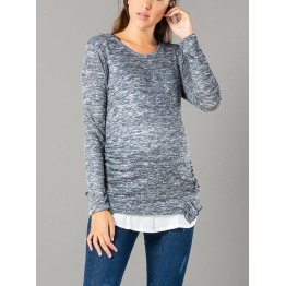 Maternity Black and White Shapes Tunic Top
