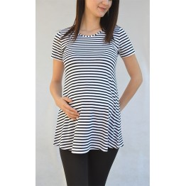 Maternity Black and White Striped Shapes Tunic Top